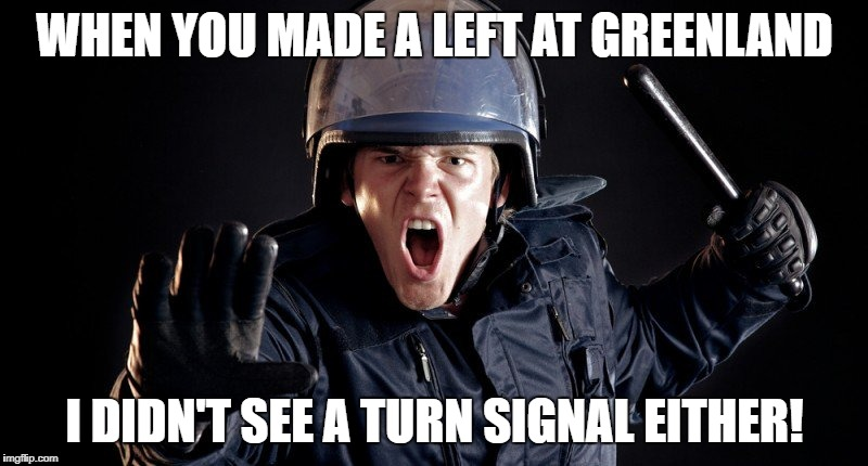 WHEN YOU MADE A LEFT AT GREENLAND I DIDN'T SEE A TURN SIGNAL EITHER! | made w/ Imgflip meme maker