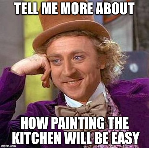 Creepy Condescending Wonka Meme | TELL ME MORE ABOUT HOW PAINTING THE KITCHEN WILL BE EASY | image tagged in memes,creepy condescending wonka | made w/ Imgflip meme maker