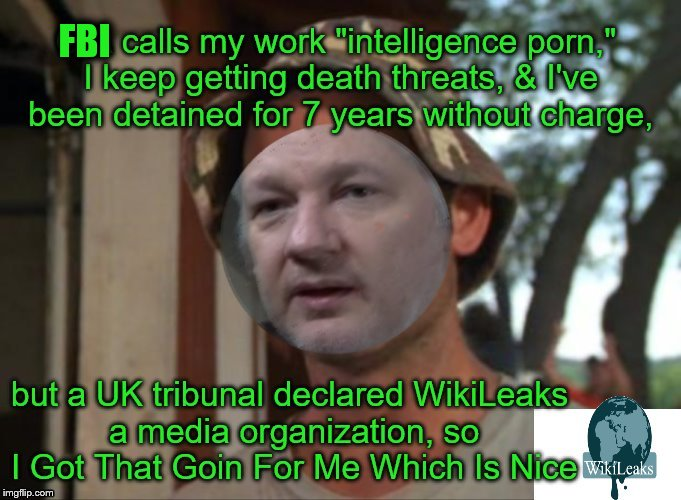 TFW you're the face of a media outlet the CIA & US Gov want shut-up | FBI | image tagged in julian assange,wikileaks,freedom of the press | made w/ Imgflip meme maker