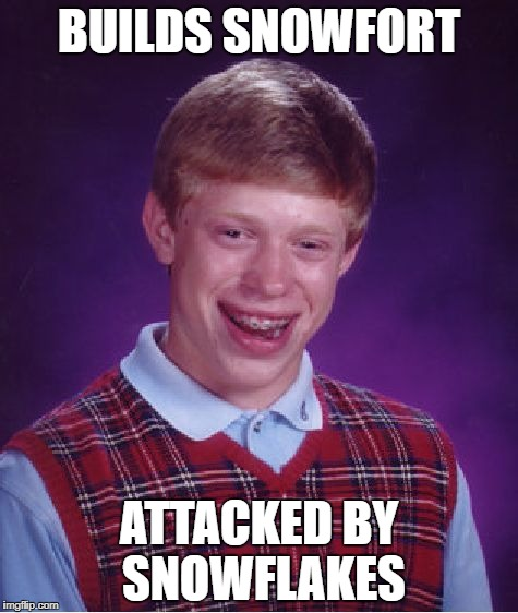 Bad Luck Brian Meme | BUILDS SNOWFORT ATTACKED BY SNOWFLAKES | image tagged in memes,bad luck brian | made w/ Imgflip meme maker