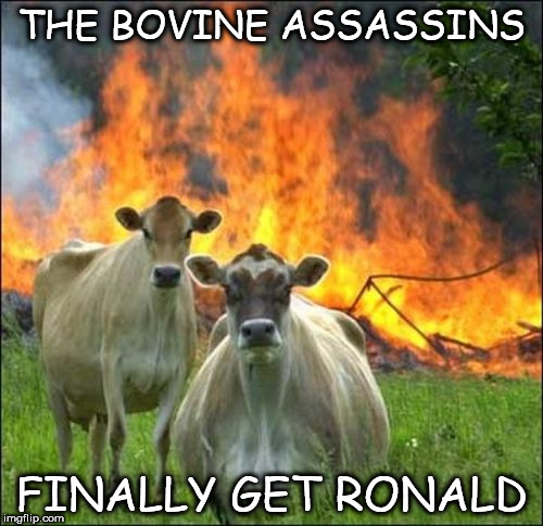 Evil Cows Meme | THE BOVINE ASSASSINS FINALLY GET RONALD | image tagged in memes,evil cows | made w/ Imgflip meme maker