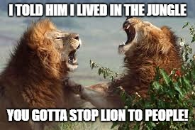 I TOLD HIM I LIVED IN THE JUNGLE YOU GOTTA STOP LION TO PEOPLE! | made w/ Imgflip meme maker