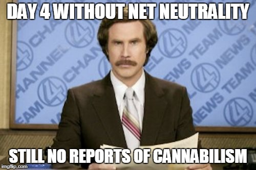 Waiting... | DAY 4 WITHOUT NET NEUTRALITY STILL NO REPORTS OF CANNABILISM | image tagged in memes,ron burgundy,net neutrality | made w/ Imgflip meme maker