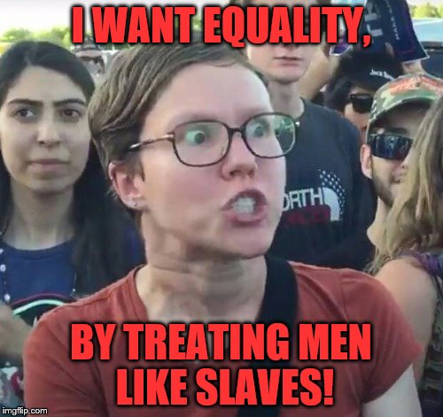 I WANT EQUALITY, BY TREATING MEN LIKE SLAVES! | made w/ Imgflip meme maker