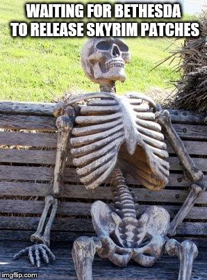 Waiting Skeleton | WAITING FOR BETHESDA TO RELEASE SKYRIM PATCHES | image tagged in memes,waiting skeleton | made w/ Imgflip meme maker