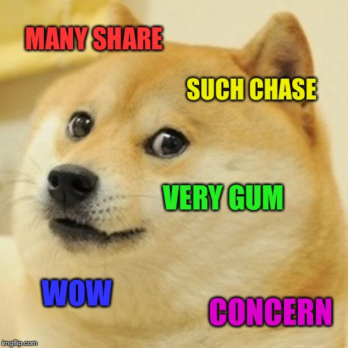 Doge Meme | MANY SHARE SUCH CHASE VERY GUM WOW CONCERN | image tagged in memes,doge | made w/ Imgflip meme maker