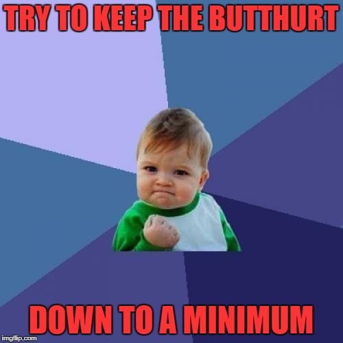 Success Kid Meme | TRY TO KEEP THE BUTTHURT DOWN TO A MINIMUM | image tagged in memes,success kid | made w/ Imgflip meme maker