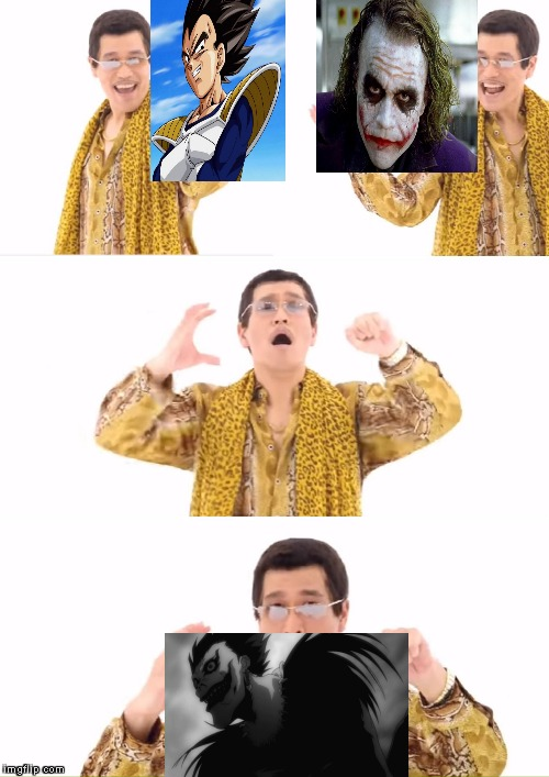 So THAT is how they made Ryuk! | image tagged in memes,ppap,death note,vegeta,joker,powermetalhead | made w/ Imgflip meme maker