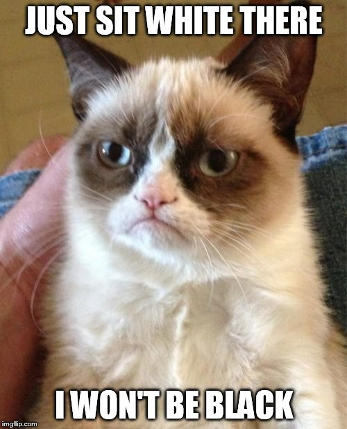 Grumpy Cat Meme | JUST SIT WHITE THERE I WON'T BE BLACK | image tagged in memes,grumpy cat | made w/ Imgflip meme maker