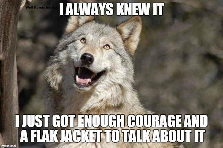 Optimistic Moon Moon Wolf Vanadium Wolf | I ALWAYS KNEW IT I JUST GOT ENOUGH COURAGE AND A FLAK JACKET TO TALK ABOUT IT | image tagged in optimistic moon moon wolf vanadium wolf | made w/ Imgflip meme maker