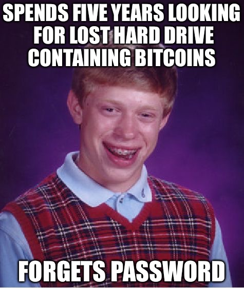 Bitcoin Shitcoin | SPENDS FIVE YEARS LOOKING FOR LOST HARD DRIVE CONTAINING BITCOINS FORGETS PASSWORD | image tagged in memes,bad luck brian,loser,punk,gay | made w/ Imgflip meme maker