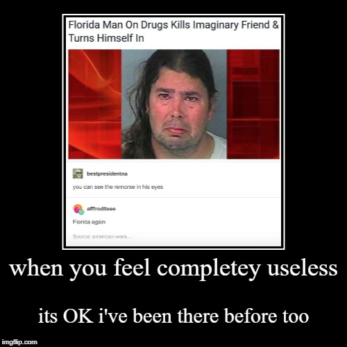 when you feel completey useless | its OK i've been there before too | image tagged in funny,demotivationals | made w/ Imgflip demotivational maker