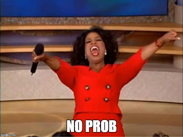 Oprah You Get A Meme | NO PROB | image tagged in memes,oprah you get a | made w/ Imgflip meme maker