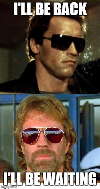 Terminator & Chuck Norris | I'LL BE BACK I'LL BE WAITING | image tagged in chuck norris,memes,terminator | made w/ Imgflip meme maker
