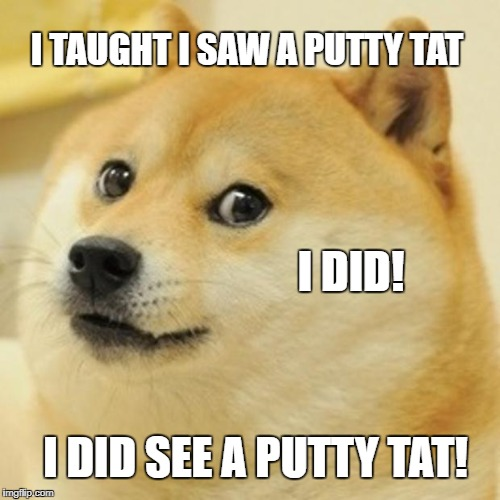 Doge Meme | I TAUGHT I SAW A PUTTY TAT I DID! I DID SEE A PUTTY TAT! | image tagged in memes,doge | made w/ Imgflip meme maker