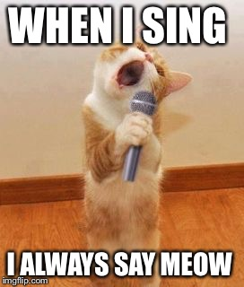 Singer Cat | WHEN I SING I ALWAYS SAY MEOW | image tagged in singer cat | made w/ Imgflip meme maker