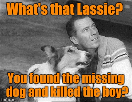What's that Lassie? You found the missing dog and killed the boy? | made w/ Imgflip meme maker