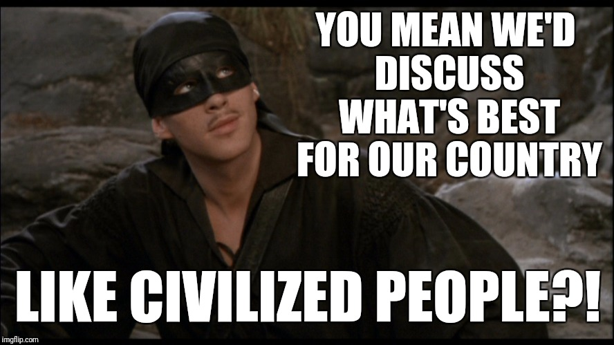 YOU MEAN WE'D DISCUSS WHAT'S BEST FOR OUR COUNTRY LIKE CIVILIZED PEOPLE?! | made w/ Imgflip meme maker