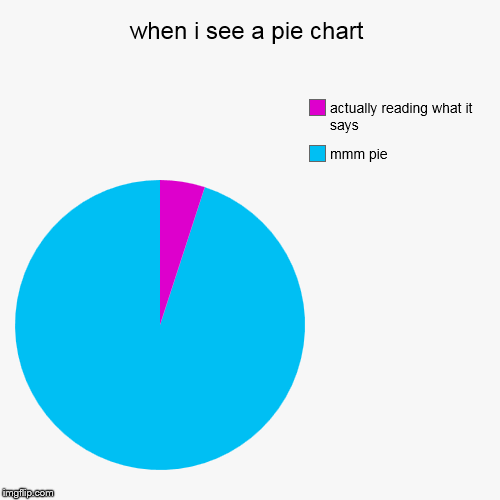 when i see a pie chart | mmm pie, actually reading what it says | image tagged in funny,pie charts | made w/ Imgflip pie chart maker