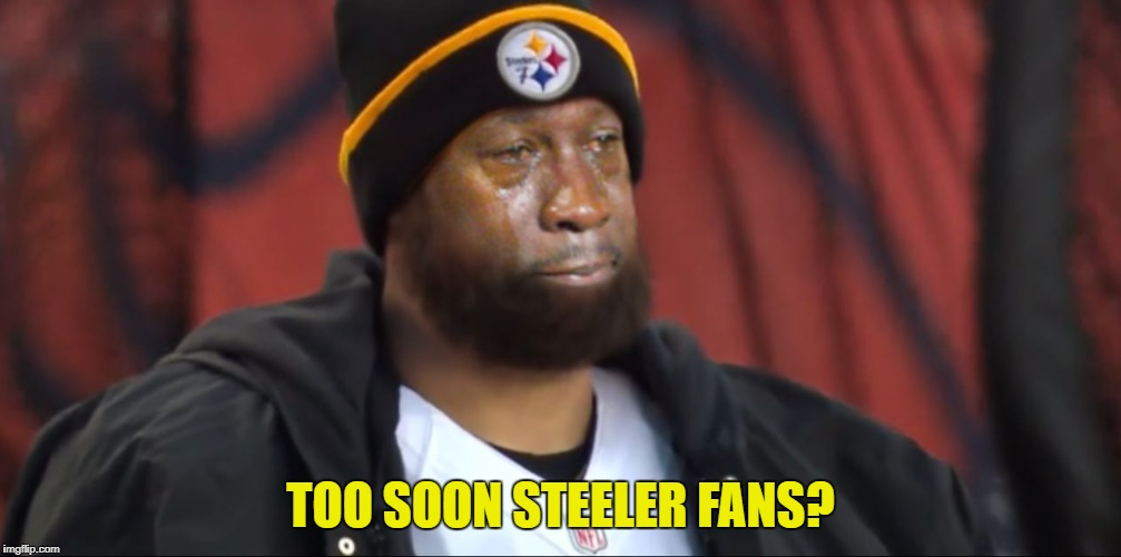 Steelers LOL | TOO SOON STEELER FANS? | image tagged in memes,pittsburgh steelers,douchebag | made w/ Imgflip meme maker