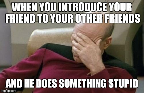 Captain Picard Facepalm Meme | WHEN YOU INTRODUCE YOUR FRIEND TO YOUR OTHER FRIENDS AND HE DOES SOMETHING STUPID | image tagged in memes,captain picard facepalm | made w/ Imgflip meme maker
