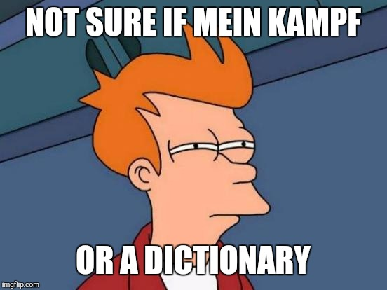 Futurama Fry Meme | NOT SURE IF MEIN KAMPF OR A DICTIONARY | image tagged in memes,futurama fry | made w/ Imgflip meme maker