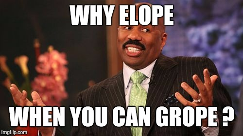 Steve Harvey Meme | WHY ELOPE WHEN YOU CAN GROPE ? | image tagged in memes,steve harvey | made w/ Imgflip meme maker