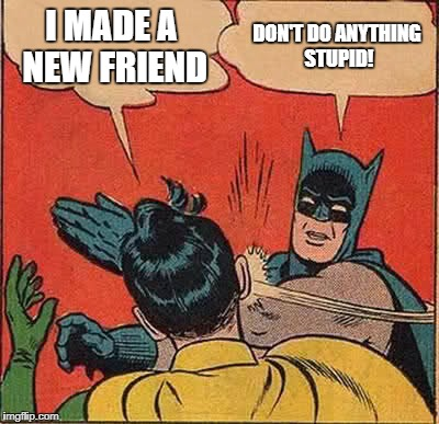 Batman Slapping Robin Meme | I MADE A NEW FRIEND DON'T DO ANYTHING STUPID! | image tagged in memes,batman slapping robin | made w/ Imgflip meme maker