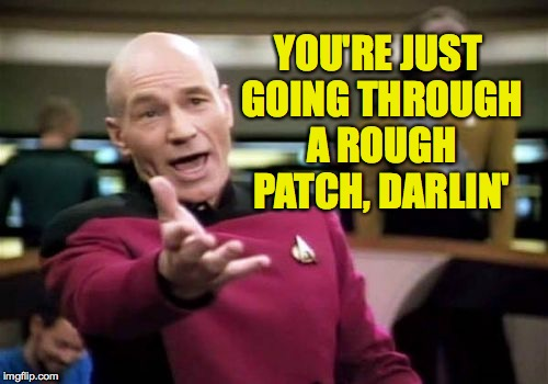 Picard Wtf Meme | YOU'RE JUST GOING THROUGH A ROUGH PATCH, DARLIN' | image tagged in memes,picard wtf | made w/ Imgflip meme maker