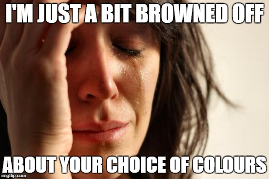 First World Problems Meme | I'M JUST A BIT BROWNED OFF ABOUT YOUR CHOICE OF COLOURS | image tagged in memes,first world problems | made w/ Imgflip meme maker
