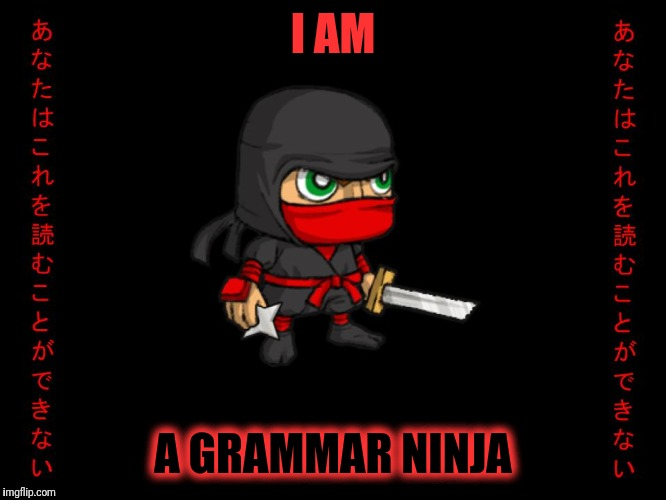 Clever ninja | I AM A GRAMMAR NINJA | image tagged in clever ninja | made w/ Imgflip meme maker