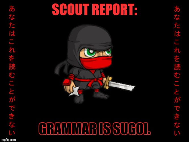 Clever ninja | SCOUT REPORT: GRAMMAR IS SUGOI. | image tagged in clever ninja | made w/ Imgflip meme maker