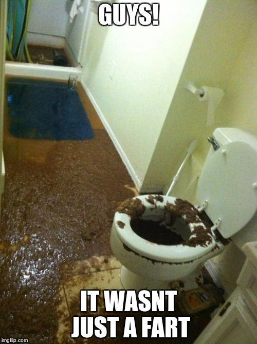 poop | GUYS! IT WASNT JUST A FART | image tagged in poop | made w/ Imgflip meme maker