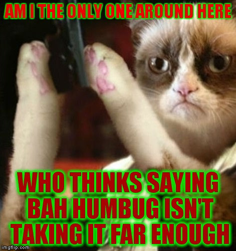 Merry Christmas from Grumpy Cat.. kinda.. | AM I THE ONLY ONE AROUND HERE WHO THINKS SAYING BAH HUMBUG ISN'T TAKING IT FAR ENOUGH | image tagged in grumpy cat christmas,am i the only one around here,bah humbug,cats,funny | made w/ Imgflip meme maker