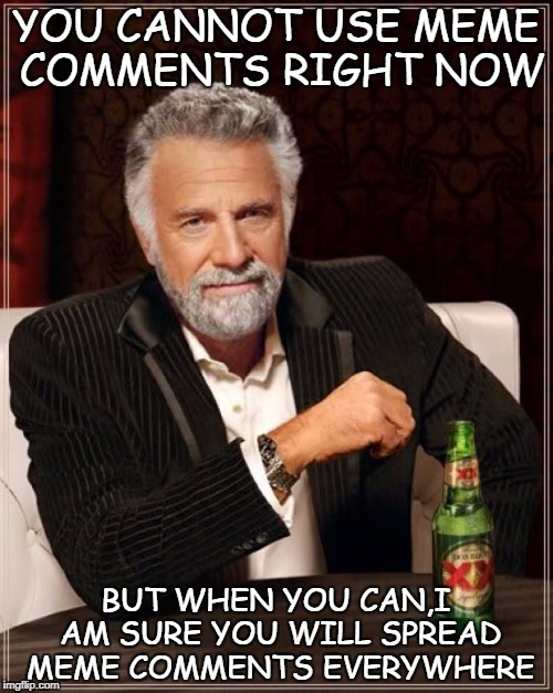 The Most Interesting Man In The World Meme | YOU CANNOT USE MEME COMMENTS RIGHT NOW BUT WHEN YOU CAN,I AM SURE YOU WILL SPREAD MEME COMMENTS EVERYWHERE | image tagged in memes,the most interesting man in the world | made w/ Imgflip meme maker