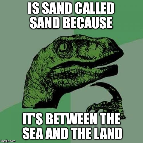 Philosoraptor Meme | IS SAND CALLED SAND BECAUSE IT'S BETWEEN THE SEA AND THE LAND | image tagged in memes,philosoraptor | made w/ Imgflip meme maker