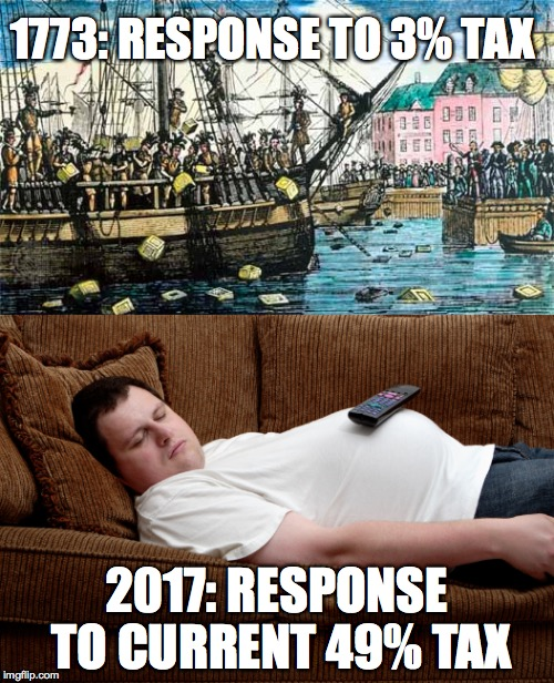 1773: RESPONSE TO 3% TAX 2017: RESPONSE TO CURRENT 49% TAX | image tagged in taxes,waiting skeleton,memes,sleeping on couch,boston,boston tea party | made w/ Imgflip meme maker