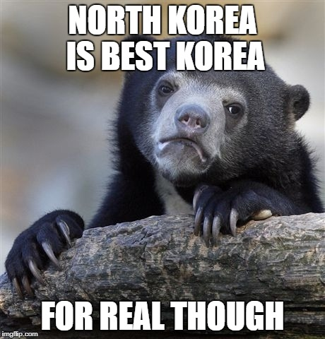 Confession Bear |  NORTH KOREA IS BEST KOREA; FOR REAL THOUGH | image tagged in memes,confession bear,north korea,south korea,korea,korean | made w/ Imgflip meme maker
