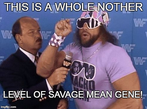 savage level | THIS IS A WHOLE NOTHER LEVEL OF SAVAGE MEAN GENE! | image tagged in savage level | made w/ Imgflip meme maker
