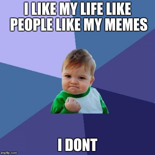 Success Kid Meme | I LIKE MY LIFE LIKE PEOPLE LIKE MY MEMES I DONT | image tagged in memes,success kid | made w/ Imgflip meme maker