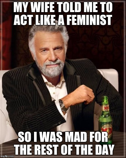 The Most Interesting Man In The World Meme | MY WIFE TOLD ME TO ACT LIKE A FEMINIST SO I WAS MAD FOR THE REST OF THE DAY | image tagged in memes,the most interesting man in the world | made w/ Imgflip meme maker