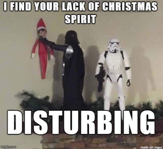 Christmas Vader | image tagged in darth vader,christmas,elf on the shelf | made w/ Imgflip meme maker