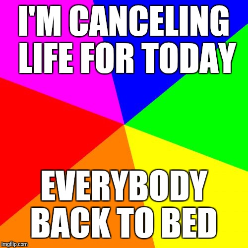 Blank Colored Background | I'M CANCELING LIFE FOR TODAY EVERYBODY BACK TO BED | image tagged in memes,blank colored background | made w/ Imgflip meme maker
