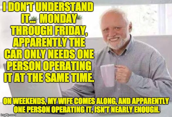 Harold | I DON'T UNDERSTAND IT...  MONDAY THROUGH FRIDAY, APPARENTLY THE CAR ONLY NEEDS ONE PERSON OPERATING IT AT THE SAME TIME. ON WEEKENDS, MY WIF | image tagged in harold | made w/ Imgflip meme maker