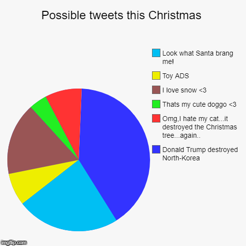 Possible tweets this Christmas | Donald Trump destroyed North-Korea, Omg,I hate my cat...it destroyed the Christmas tree...again.., Thats my | image tagged in funny,pie charts | made w/ Imgflip pie chart maker