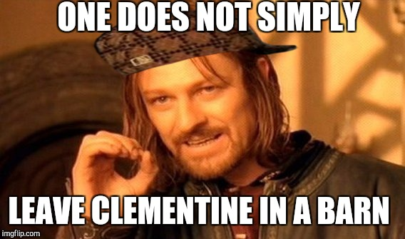 One Does Not Simply Meme | ONE DOES NOT SIMPLY LEAVE CLEMENTINE IN A BARN | image tagged in memes,one does not simply,scumbag | made w/ Imgflip meme maker