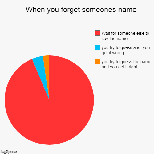 When you forget someones name | you try to guess the name and you get it right, you try to guess and  you get it wrong, Wait for someone els | image tagged in funny,pie charts | made w/ Imgflip chart maker