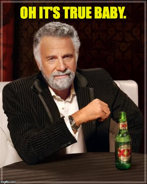 The Most Interesting Man In The World Meme | OH IT'S TRUE BABY. | image tagged in memes,the most interesting man in the world | made w/ Imgflip meme maker