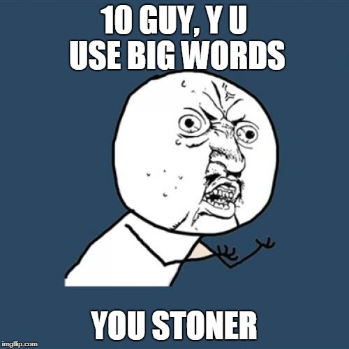 Y U No Meme | 10 GUY, Y U USE BIG WORDS YOU STONER | image tagged in memes,y u no | made w/ Imgflip meme maker
