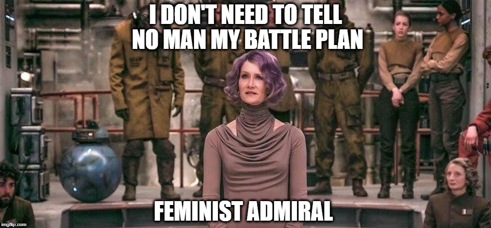 Laura Dern Star Wars The Last Jedi | I DON'T NEED TO TELL NO MAN MY BATTLE PLAN FEMINIST ADMIRAL | image tagged in laura dern star wars the last jedi | made w/ Imgflip meme maker
